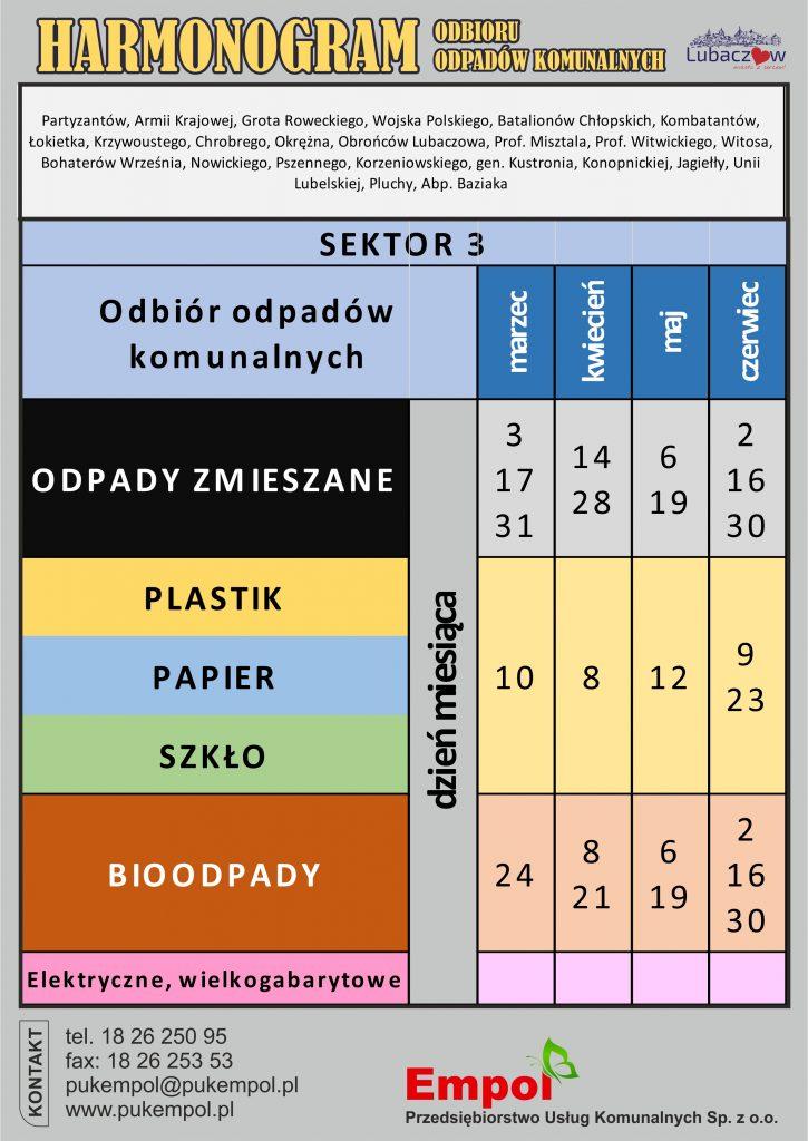 Harmonogram odbioru odpadów od marca do czerwca - sektor 3