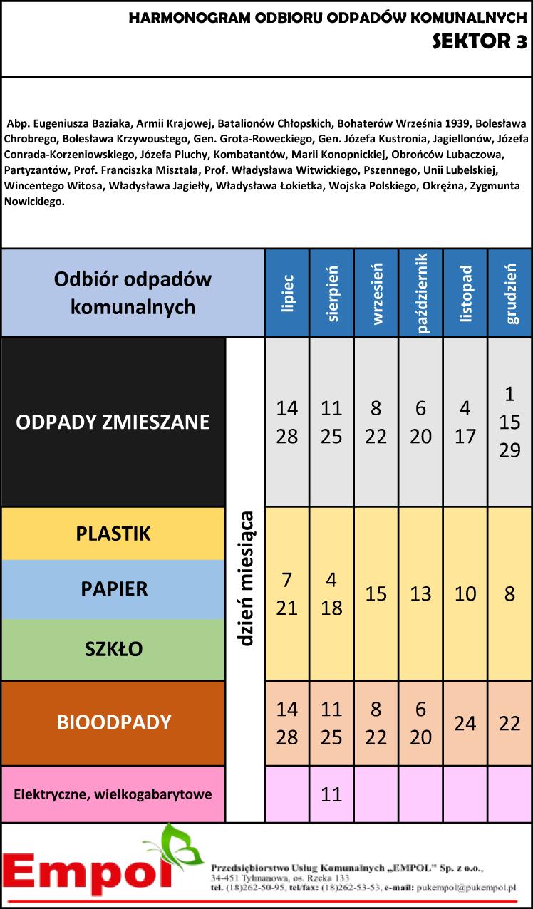 Harmonogram odbioru odpadów komunalnych z sektora 2 na okres od lipca do grudnia 2021 r.