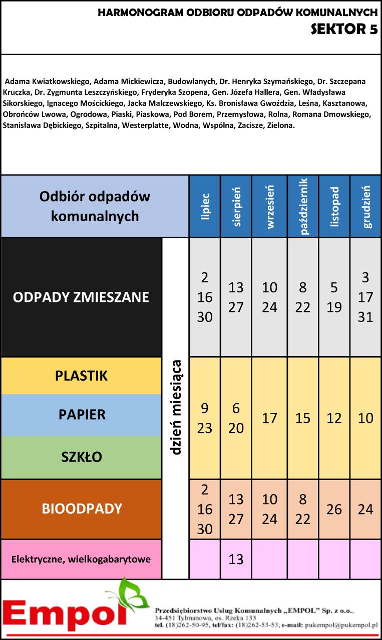 Harmonogram odbioru odpadów komunalnych z sektora 4 na okres od lipca do grudnia 2021 r.